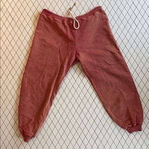The great salmon colored sweatpants